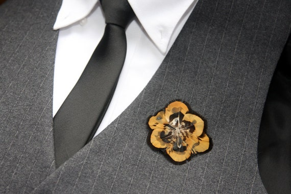 Golden Pheasant Feather Boutonniere Brooch Pin