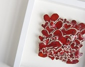 41 Hearts, ceramic tile, textural, sculptural wall art, home decor, wedding present, engagement, valentine gift, white and red