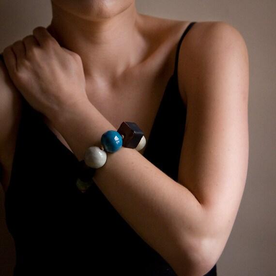 25% SALE, Ceramic beaded bracelet, pottery jewelry, geometric, minimalist, organic, eco-look by karoArt ceramics, made in Ireland