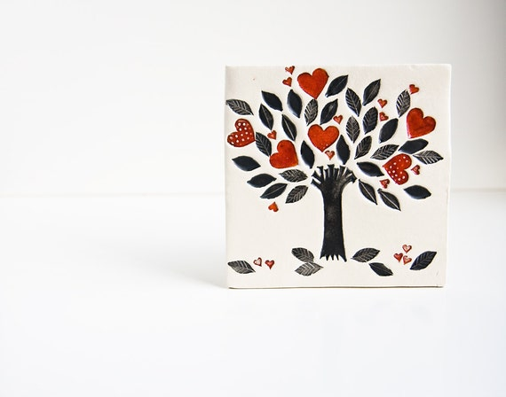 tree of life, ceramic wall art, ceramic tile. Gift for parents, gift for mom, anniversary, wedding, engagement. black white red
