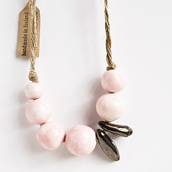 ceramic beaded NECKLACE, blush pink, ceramic jewelry with organic, natural feel, handmade in Ireland by karoArt