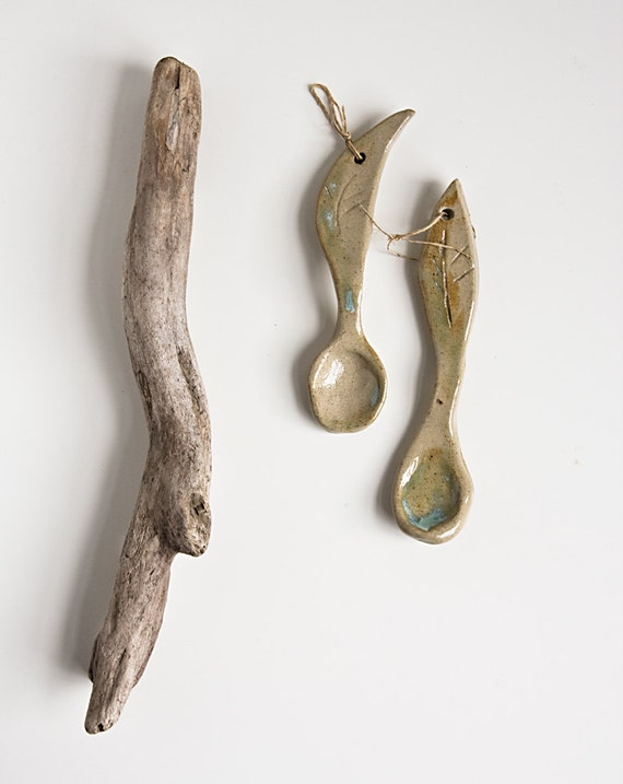 handmade spoons, unique stoneware spoons, kitchen decoration, sugar spoon, salt spoon, handmade in Ireland by karoArt