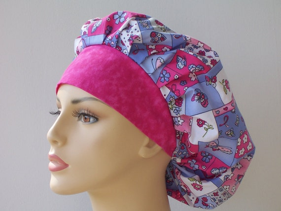 Bouffant Scrub Hat Pink Ribbons of Hope with Butterflies and Flowers