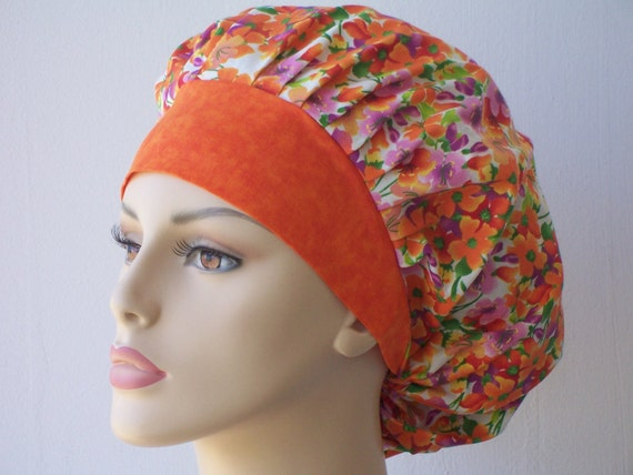 Bouffant Surgical Scrub Hat - Pansy Passion in Orange and Purple