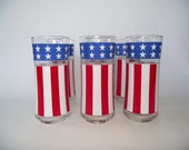 Vintage Patriotic Uncle Sam Hat Bicentennial Hiball Highball Drinking Glasses Set of 6 Day Red White & Blue