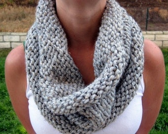 Gray Cowl Scarf, Hand Knit Infinity Scarf, Hand Knit Cowl Scarf, Chunky Scarf, Chunky Knit, Knitted Scarf, Winter Accessories
