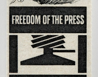 Freedom of the Press - 13x8 Mounted Canvas Print of US Postage Stamp from 1958