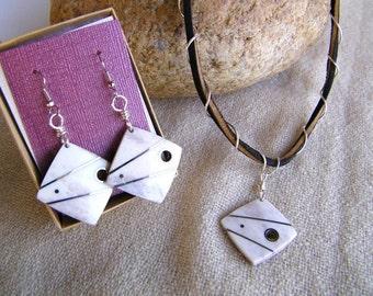 Elk Antler Gift Set SHIPS IMMEDIATELY Handmade Inlaid Elk Antler Necklace Earrings Elk Antler Birthday Gifts for Her Outdoor Rustic Wedding