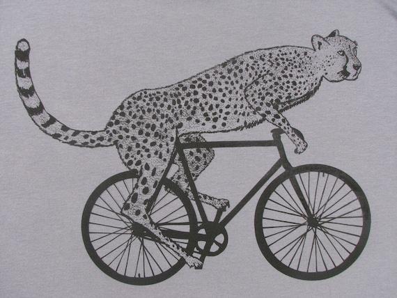Mens cheetah on a bike t shirt -American Apparel slate gray - S, M, L, XL , 2XL, WorldWide Shipping