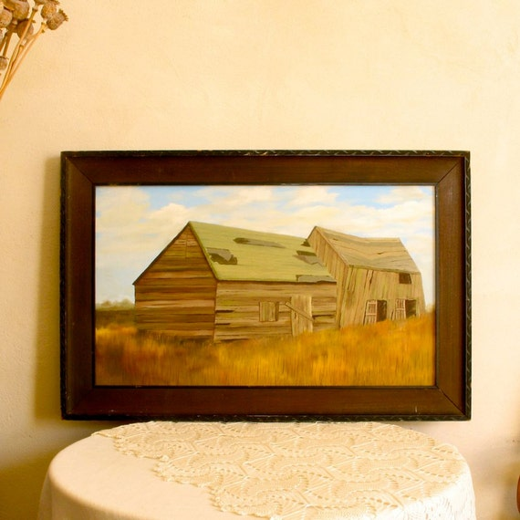 Vintage Barn Painting Rural Subject Art Framed Oil Canvas Retro Home Decor