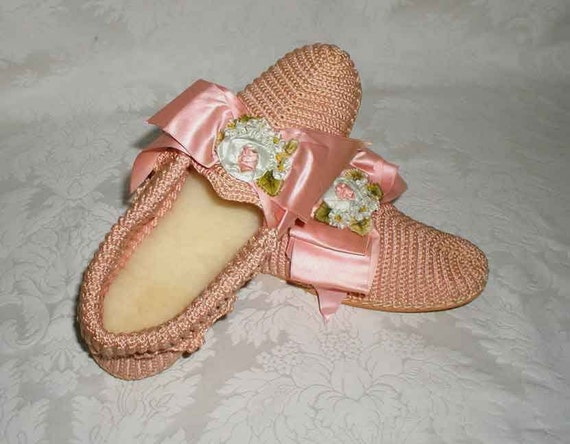 1920s Silk Ribbonwork Never Worn Ladies Slippers With Shearling Fur Insoles