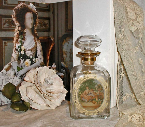 Glass Decanter With Romantic 18th Century Picture and Gold Filigree Flowers