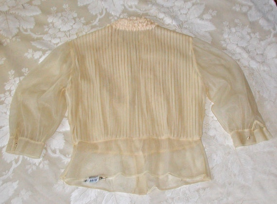 """Vintage 40s or 50s """"Debcraft"""" Sheer Ivory Nylon Blouse With Tuxedo Front of Lace and Pearl Buttons"""