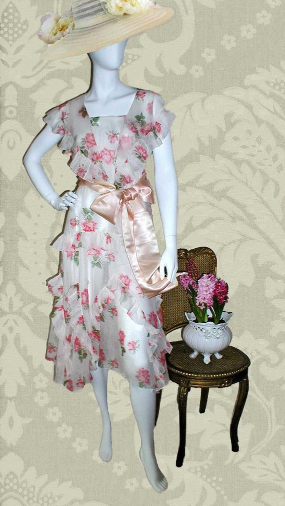 RESERVED for Saffran: 1920s or Early 30s  Rose Print Organdy Dress With Ruffles and Godets