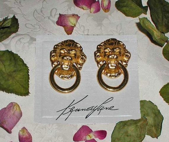 60s Kenneth J. Lane Lions Head Gold Door Knocker Earrings on Original Card
