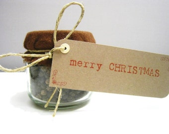 Merry Christmas Gift Tags - Natural Kraft Cardstock - Set of 10