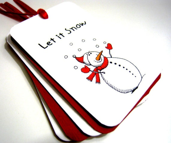 Snowman Tags - Let it Snow - Christmas Tags - Set of 8