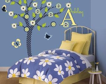 Children Wall Decals Tree Decal Denim Daisy Tween Girl Decor Monogram Name
