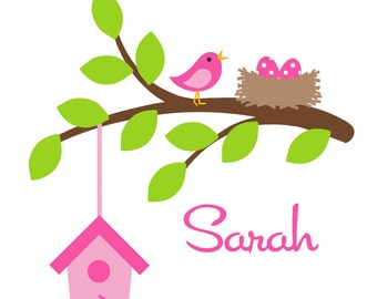 Personalized Branch Wall Decal Customized Girl Name Decal Nursery Decor