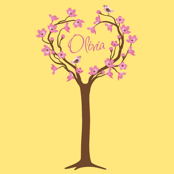 Baby Tree Wall Decal Nursery Cherry Tree Personalized Decor