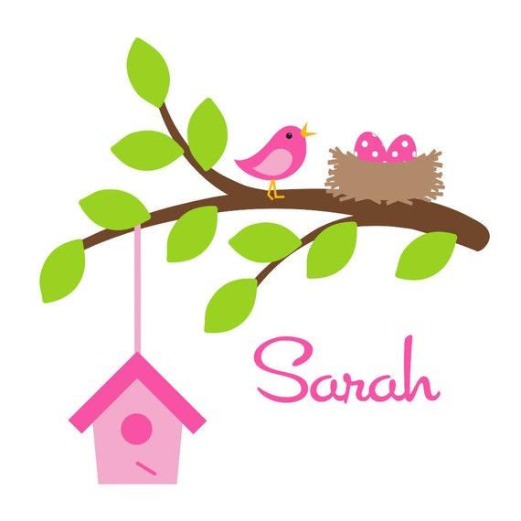 Children Wall Decal Kid Wall Decal  Bird Branch Decal with Bird Houses Nest EggsOHSC