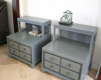 Retro End Tables custom order Hand Finished Gunmetal Grey