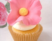 Large Edible Handmade Flower Cupcake (or Cake) Toppers