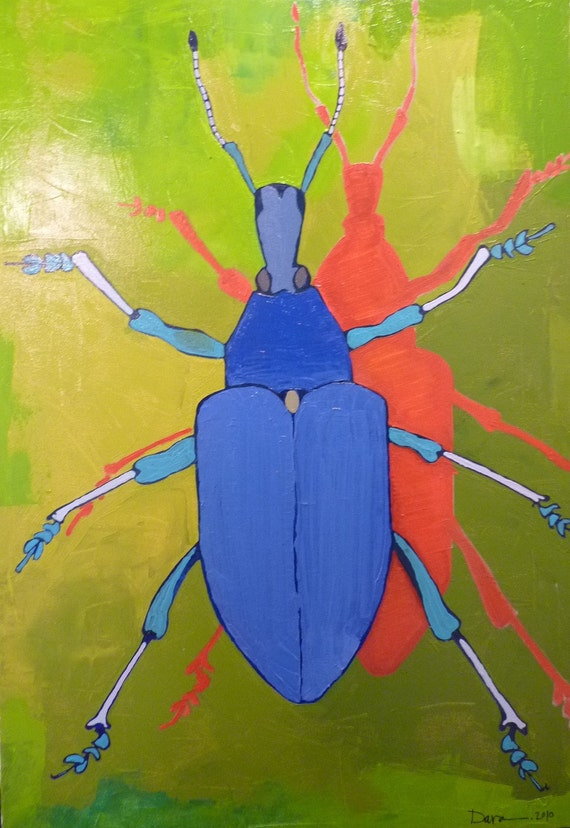 original oil painting, painting of beetle, painting bugs, nature, abstract painting, art with words, Darwin, contemporary art