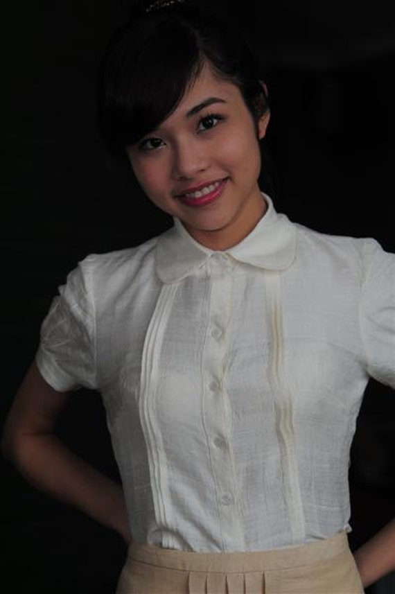 White Silk Pleated Front Peter-Pan Collar Shirt / Top/ Blouse - Ready-To-Wear | Made-to-Measure | Custom Made Sizing - TOP06