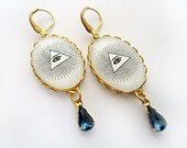Illuminati Earrings -  All seeing Eye Hanging Vintage Cameo - Montana Blue Teardrop - Eye of providence - Masonic - Crying God