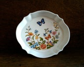 Vintage English Small Butterfly Flower Trinket Jewelry Jewellery Dish Spring Plate circa 1960's / English Shop