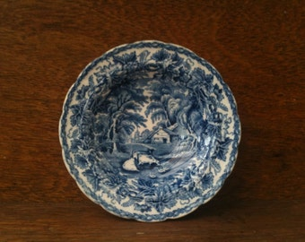 Vintage English Blue and White Saucer / English Shop