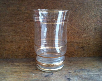 Vintage English Large Gold Rimmed Vase Clear Glass circa 1950's / English Shop