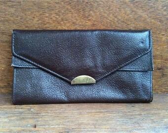 Vintage English brown leather wallet ladies purse circa 1970's / English Shop