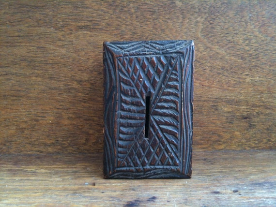 Vintage English Carved Wooden Money Box / English Shop