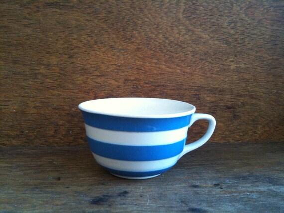 Vintage English Blue and White Stripe Tea Cup, Cornish