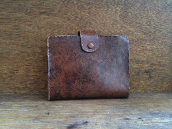 Vintage English Brown Leather Card Case Cover Etui Two Square Compartments circa 1960's / English Shop