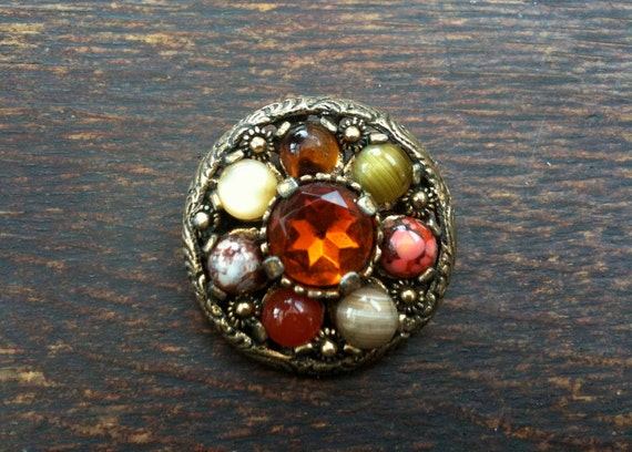 Vintage Scottish miracle gold brooch Amber coloured stone circa 1950's / English Shop