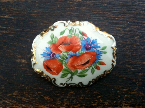 Antique English poppy porcelain brooch gift circa 1900's / English Shop