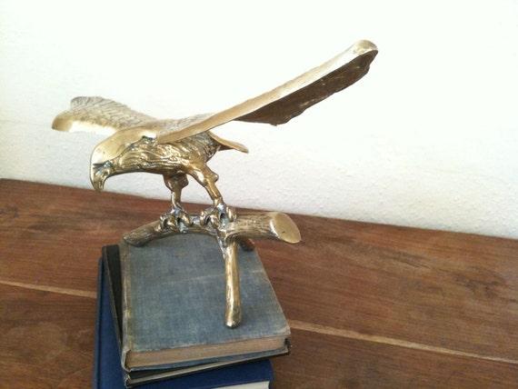 Vintage English large heavy brass eagle tabletop desk study display circa 1950's / English Shop