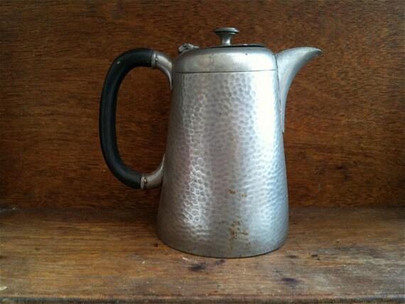 Antique English Pewter Coffee Tea Pot circa 1930-40's / English Shop