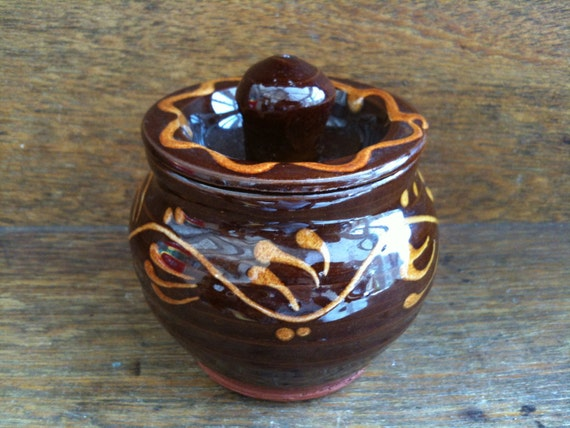 Vintage English Small Brown Glazed Clay Pot, with Lid