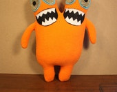 MINI PLUSH MONSTER Luchados in Orange with Two Heads and Gold Eyes