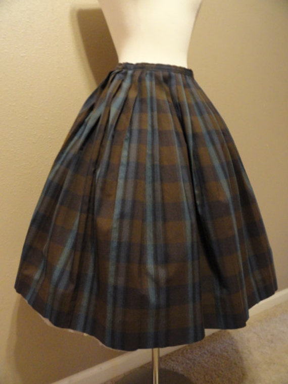 Reserved for Giulia...1950s Vintage Schoolgirl Skirt Blue and Brown Plaid  Sz Small
