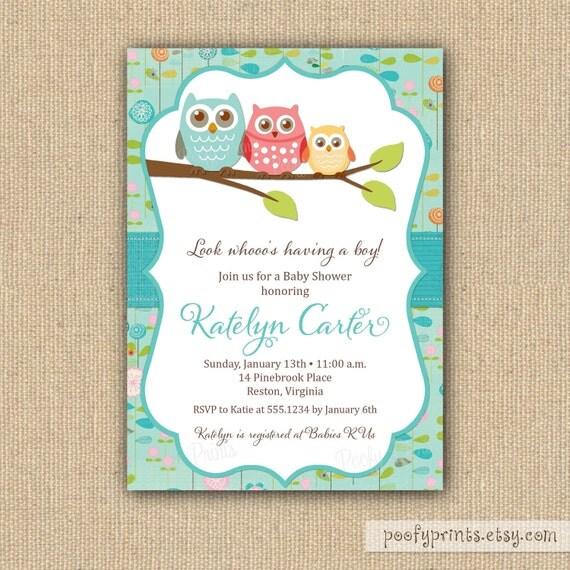 Blank Owl Baby Shower Invitations: Items Similar To Owl Baby Shower Invitations