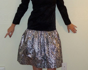 Yves Saint Laurent 1980s Dress Drop waist Zebra Print  XS Small 0 2 or teens