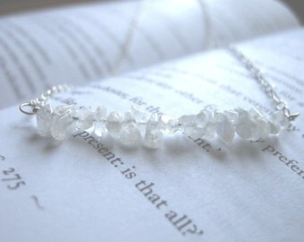SALE Ethereal Linear Rainbow Moonstone Sterling Silver Necklace / Curved Arc, Translucent White, Romantic, Dreamy June Birthstone