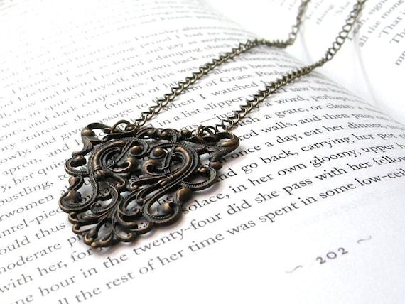 English Manner - Ornate Brass Statement Necklace / Large Scrolls, Dark Gothic Vintage Inspired Jewelry, Autumn Fall Harvest, Warm Chai Tea