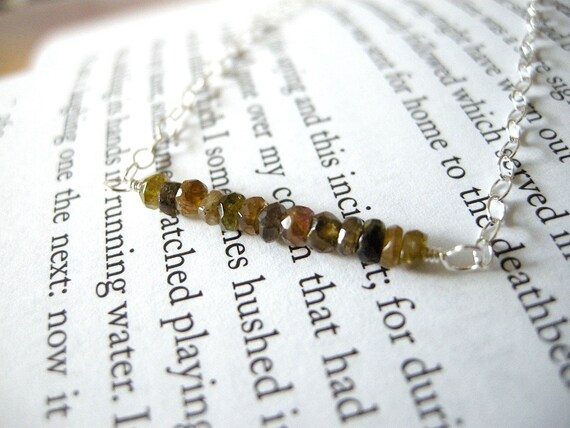 Earthy Tourmaline Harvest Necklace / Autumn Jewelry, Faceted Linear, Golden Brown Green Neutrals, Minimalist Boho, Gifts Under 50