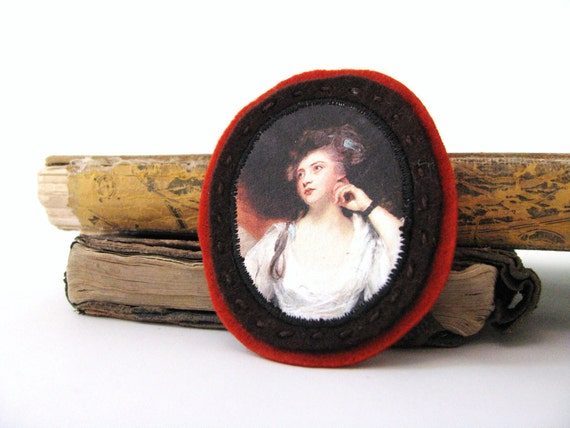 rust and chocolate brown felt brooch - cameo style - pensative lady